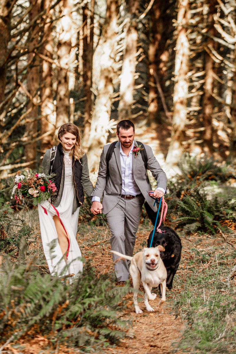 A couple hiking through the woods in their wedding attire, their dogs racing ahead on leash.