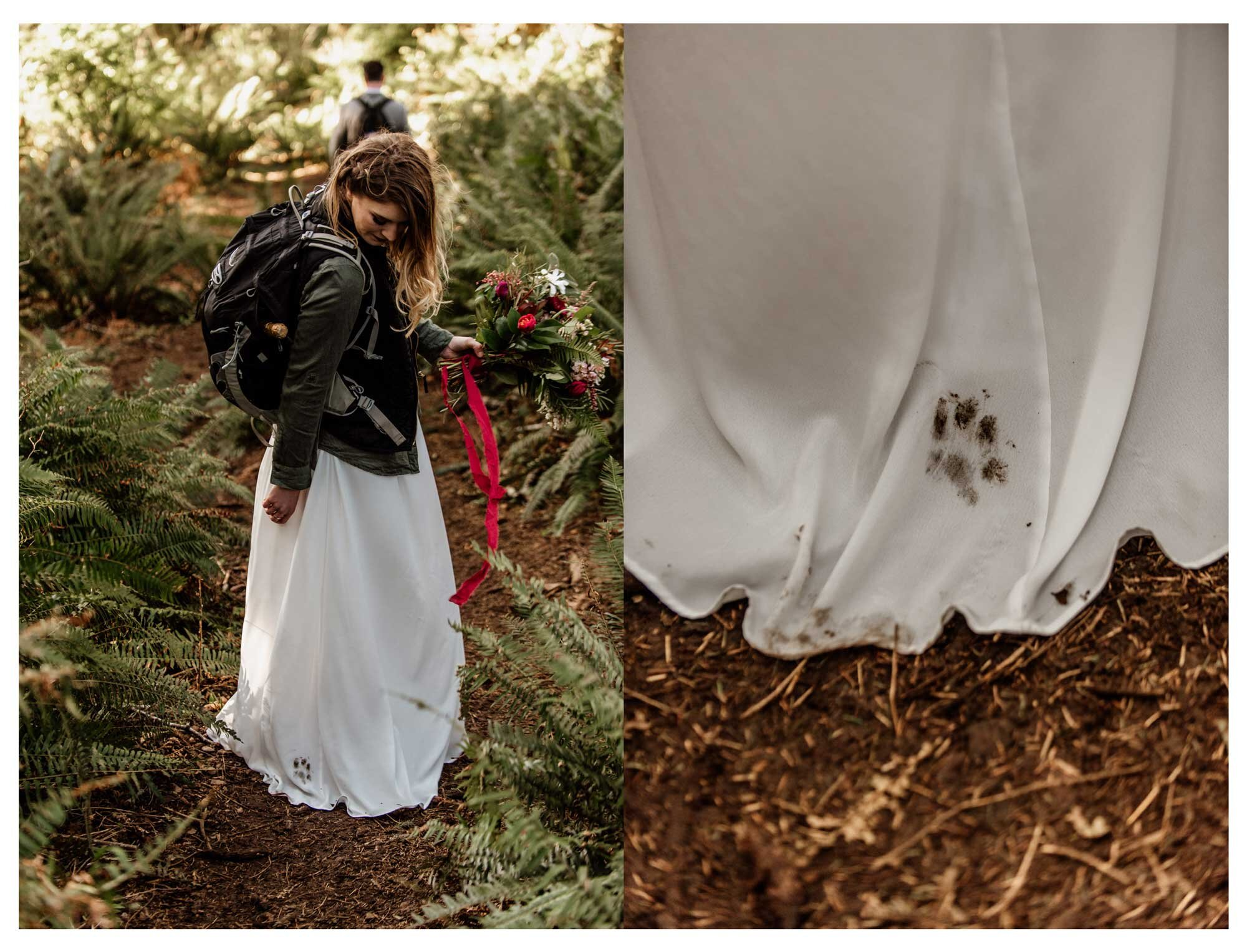 A paw print on a wedding gown.