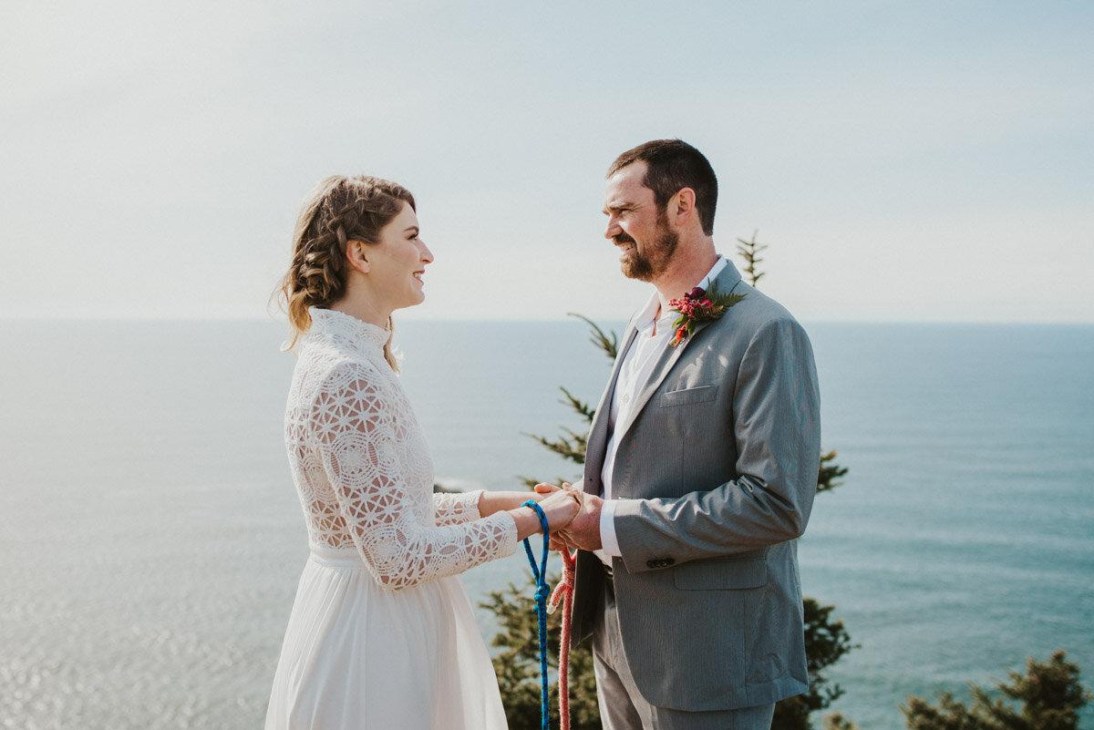 An intimate wedding ceremony overlooking the ocean.