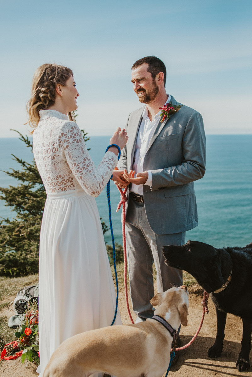 Intimate wedding on the oregon coast.