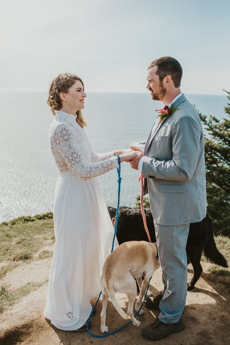A couple exchanges vows on the Oregon coast.