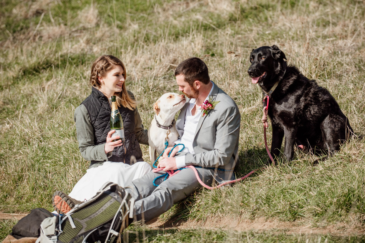 champagne celebrations after hiking elopement