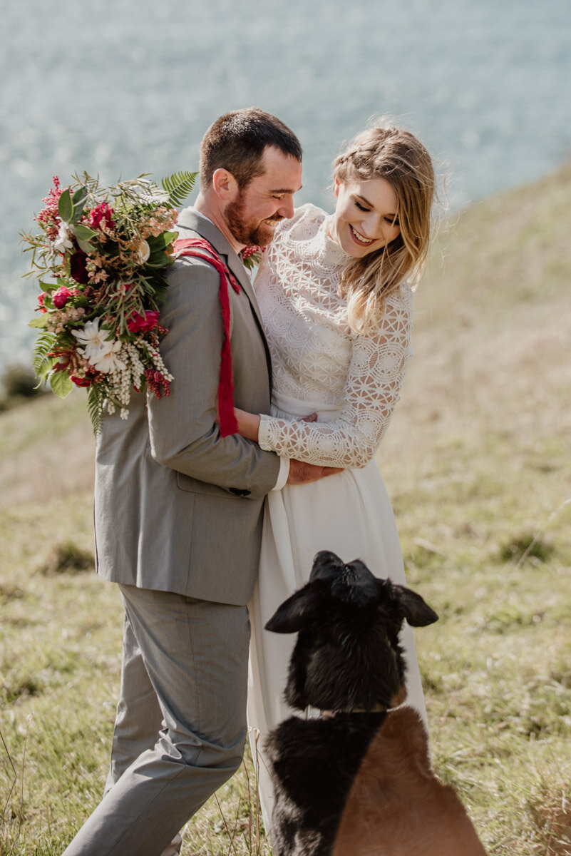 Eloping with dogs on the Oregon Coast.