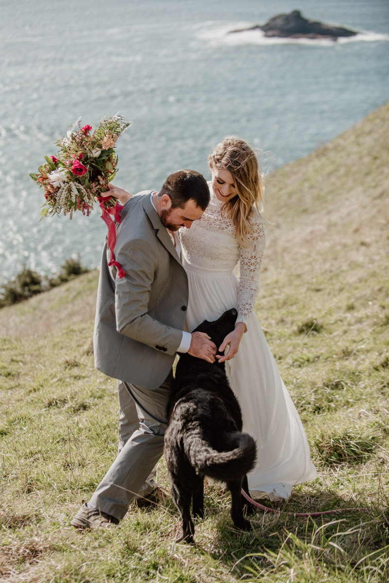 Eloping with dogs at God's Thumb in Lincoln City, Oregon.