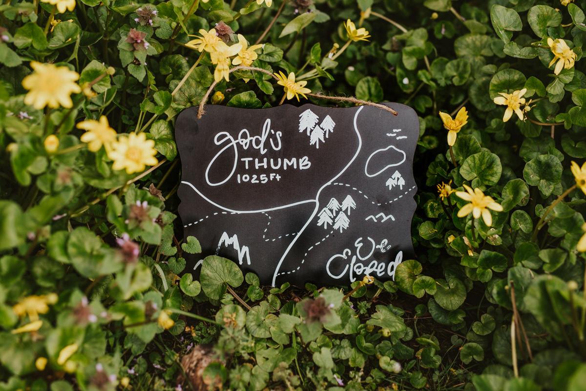 """We Eloped"" chalkboard wedding sign"