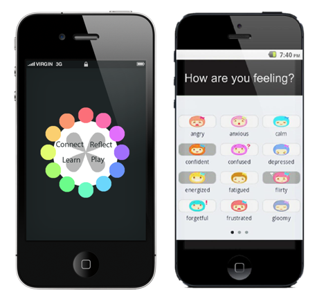 Individual App User Interface for inputing activity type or mood.