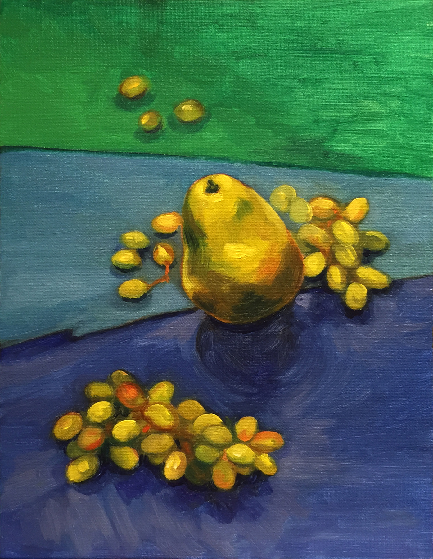 Grapes and Pear, (Oil Sketch)  2015 8x12 Oil on canvas