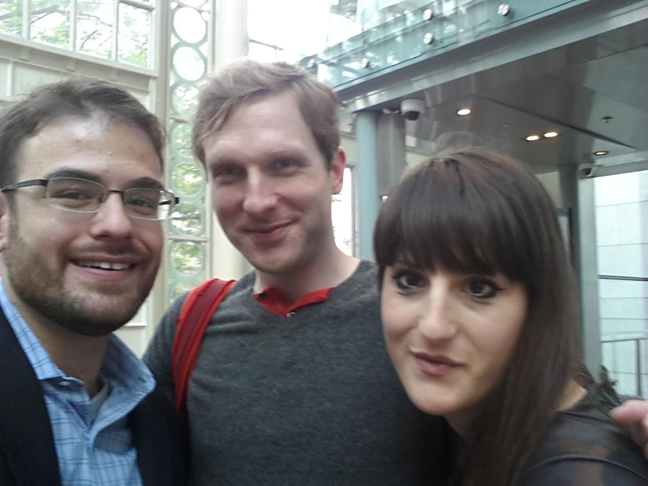 Three very happy opera makers! From L-to-R, Evan Kassof, Aleksandar Hut Kono, and Ruth Mariner.
