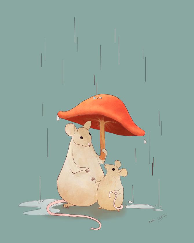 Rain Children's Illustration | NaomiVanDoren.com