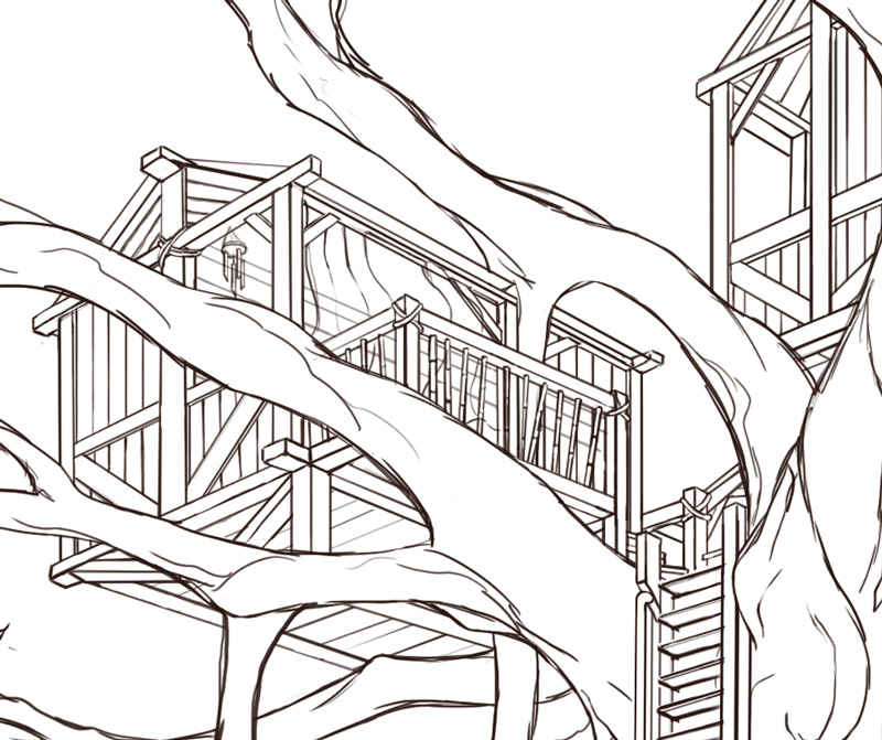 Banyan Tree House Concept line work illustration | NaomiVanDoren.com
