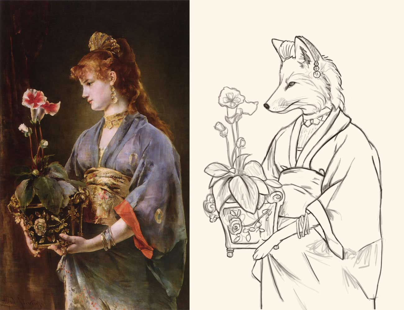"My reference, ""Yamatori"" by Alfred Stevens, and very first sketch."