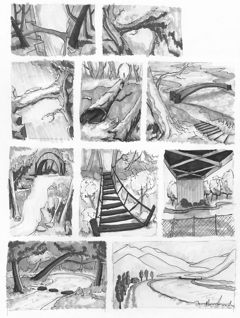 Value studies from my sketchbook. All imaginary places from my head. Theme: bridges