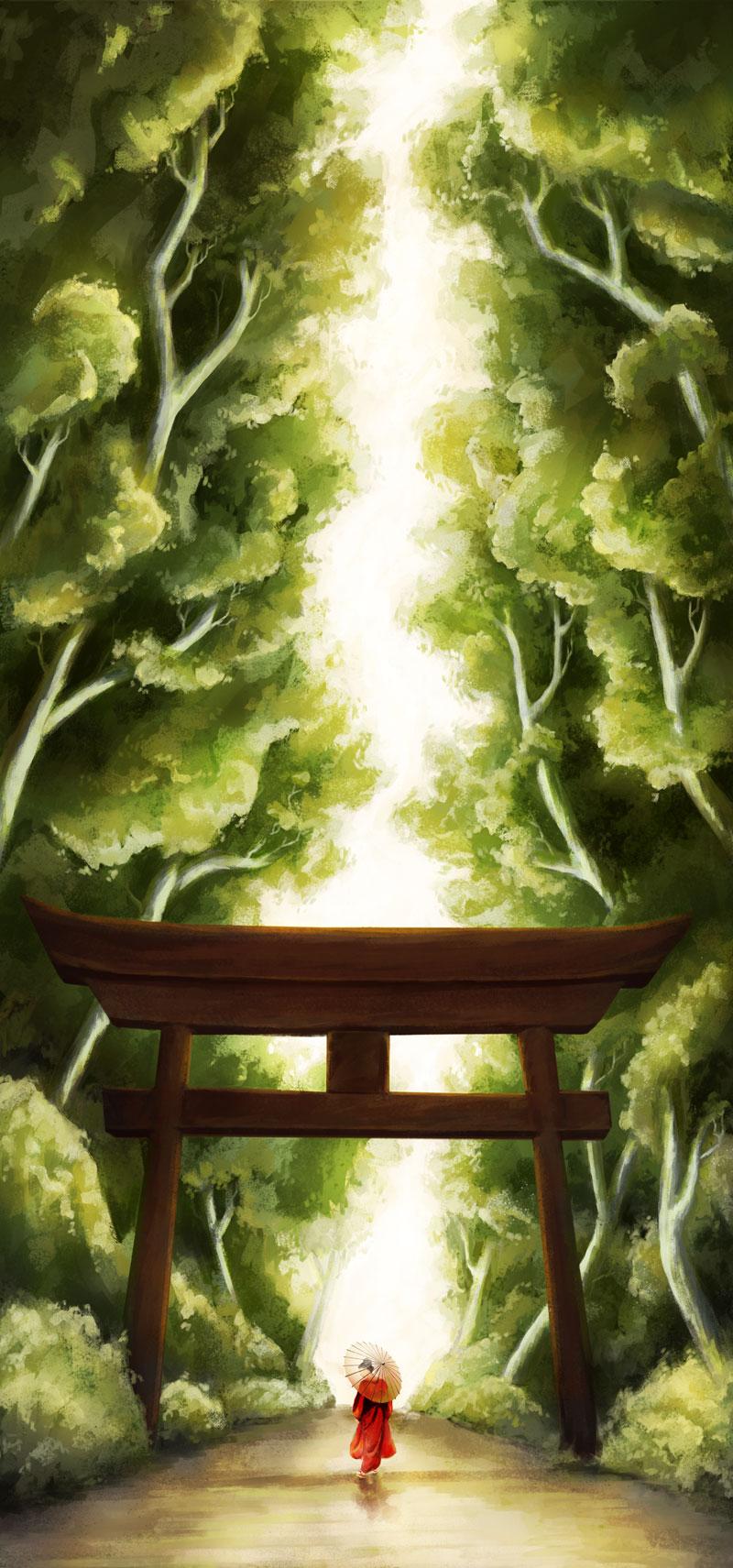 Torii Path Digital Painting NaomiVanDoren.com