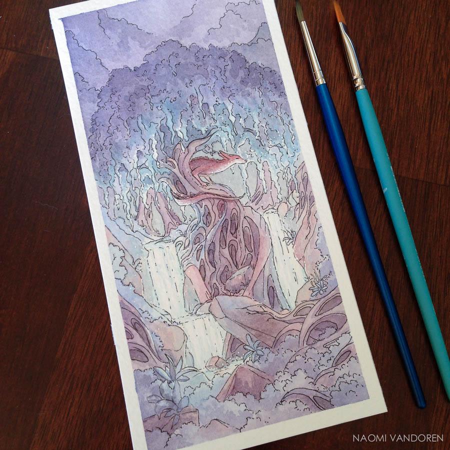 Fens Forest Naomi VanDoren Watercolor painting Process