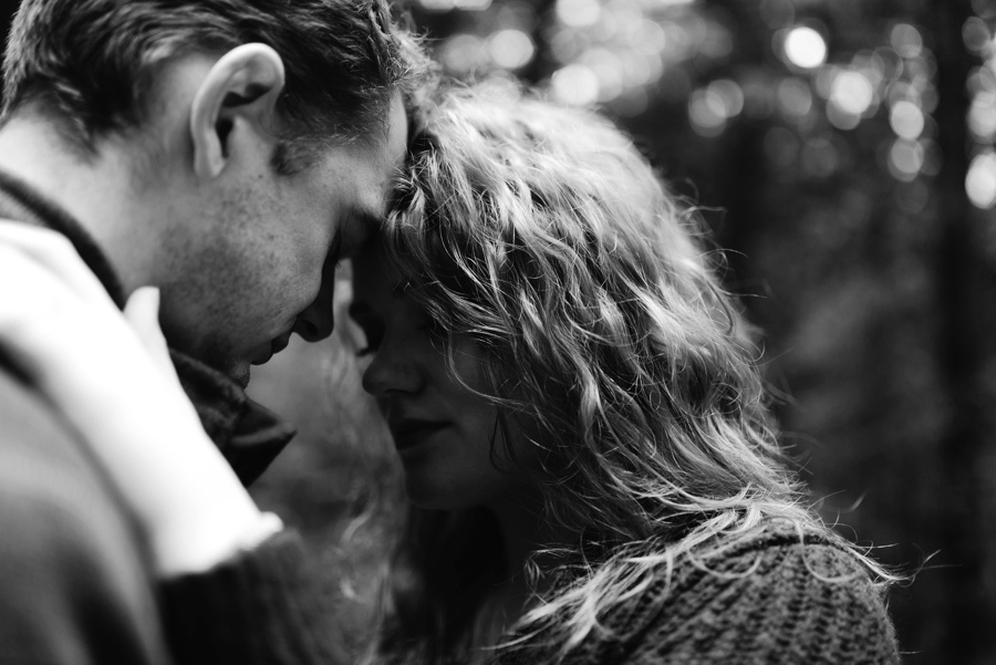 couple embracing at whatcom falls