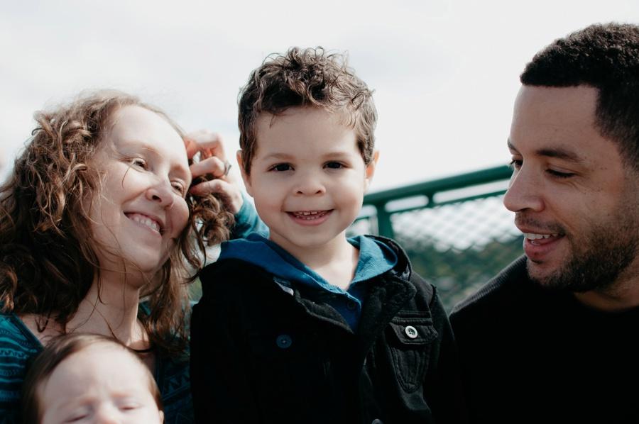 family having fun on ferry