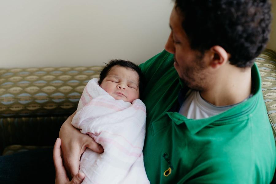 newborn baby girl with dad