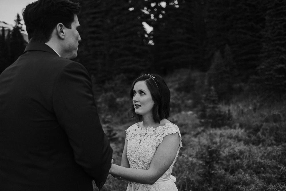 bride lovingly looking at groom