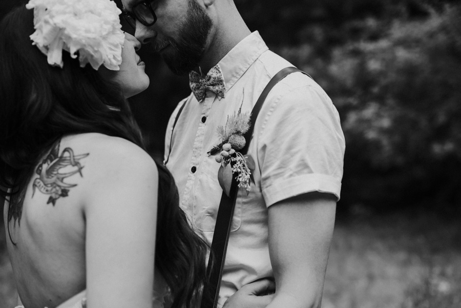 intimate photo of bride and groom