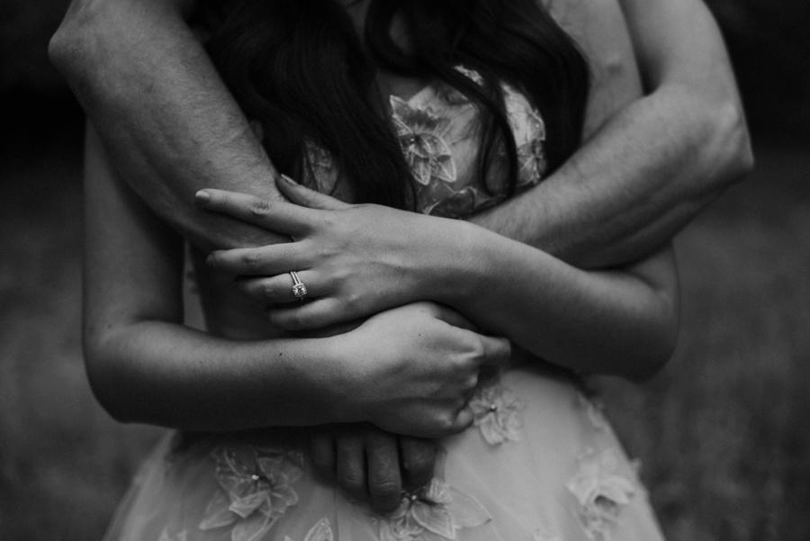 husband holding wife
