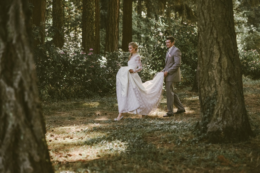 Couple walking through the woods