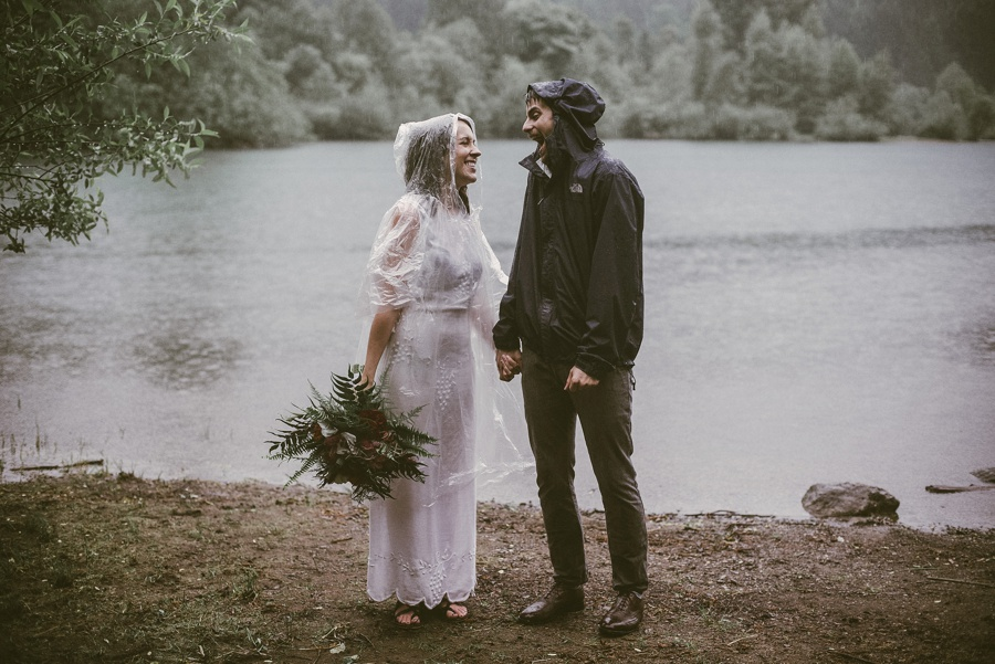 couple eloped in the rain