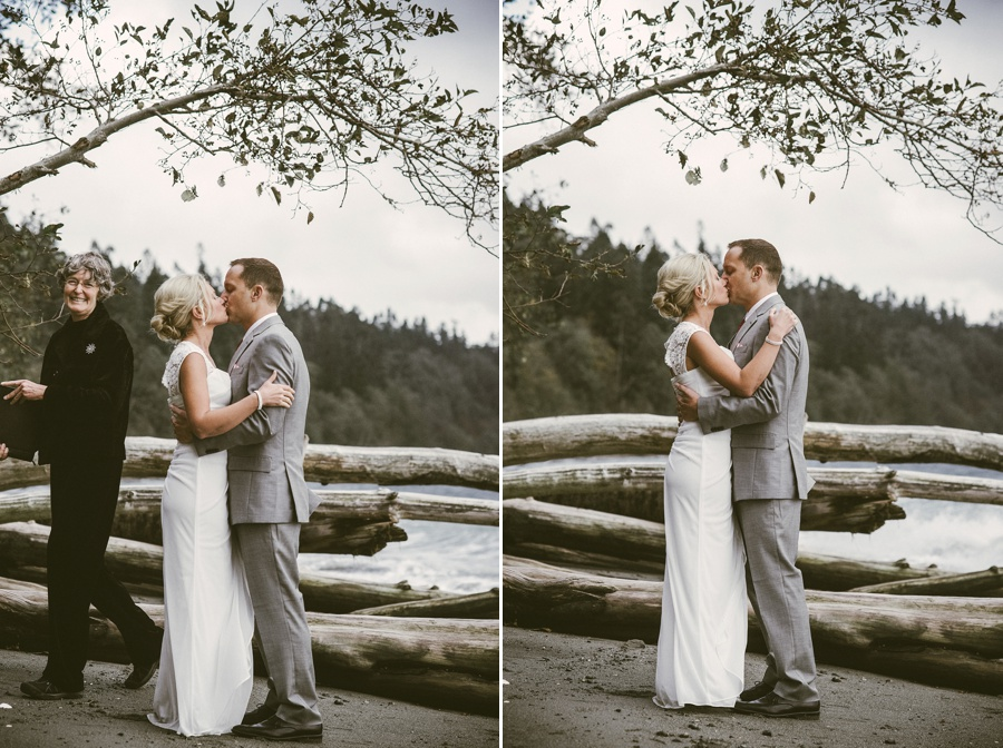 first kiss at elopement ceremony