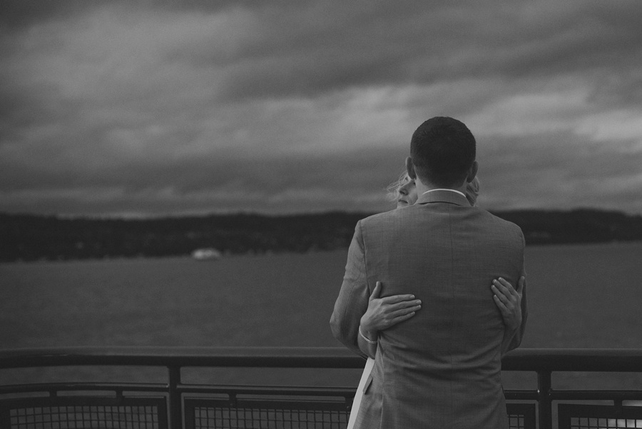 couple on ferry after elopement