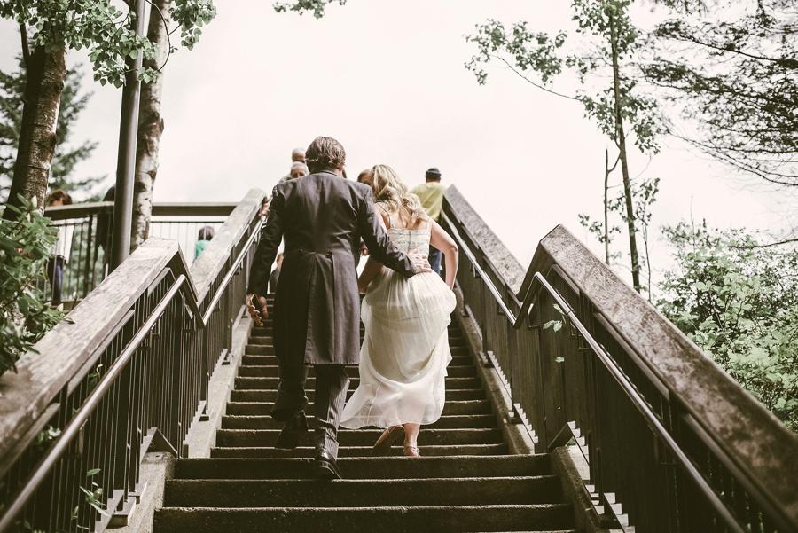 couple walking up stairs at salish lodge