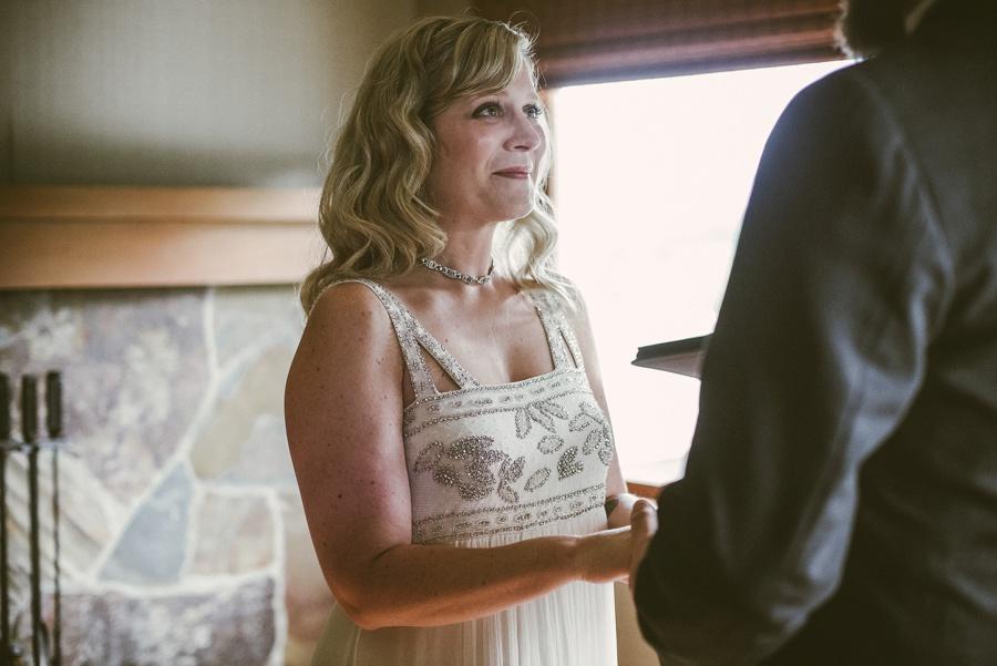 bride looking at groom during salish lodge elopement