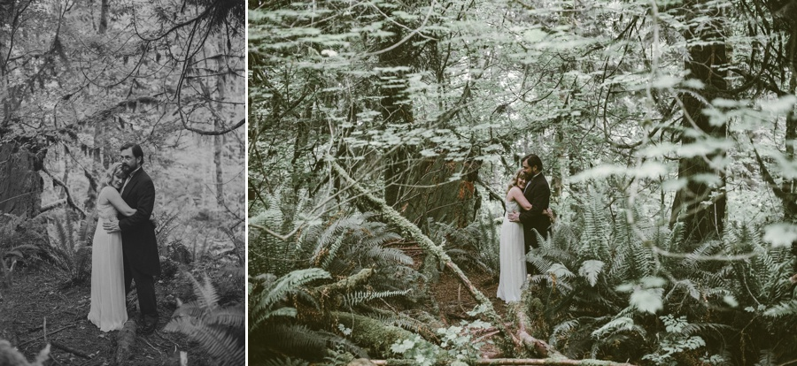 couple in the woods for snoqualmie falls elopement
