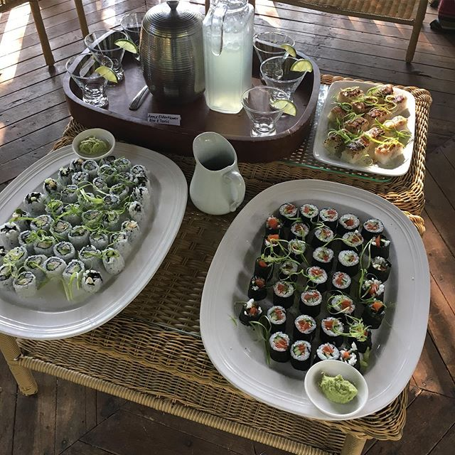 Roughing it! Endless Sushi appetizers and pitchers of G&T's #kimsquitbaylodge
