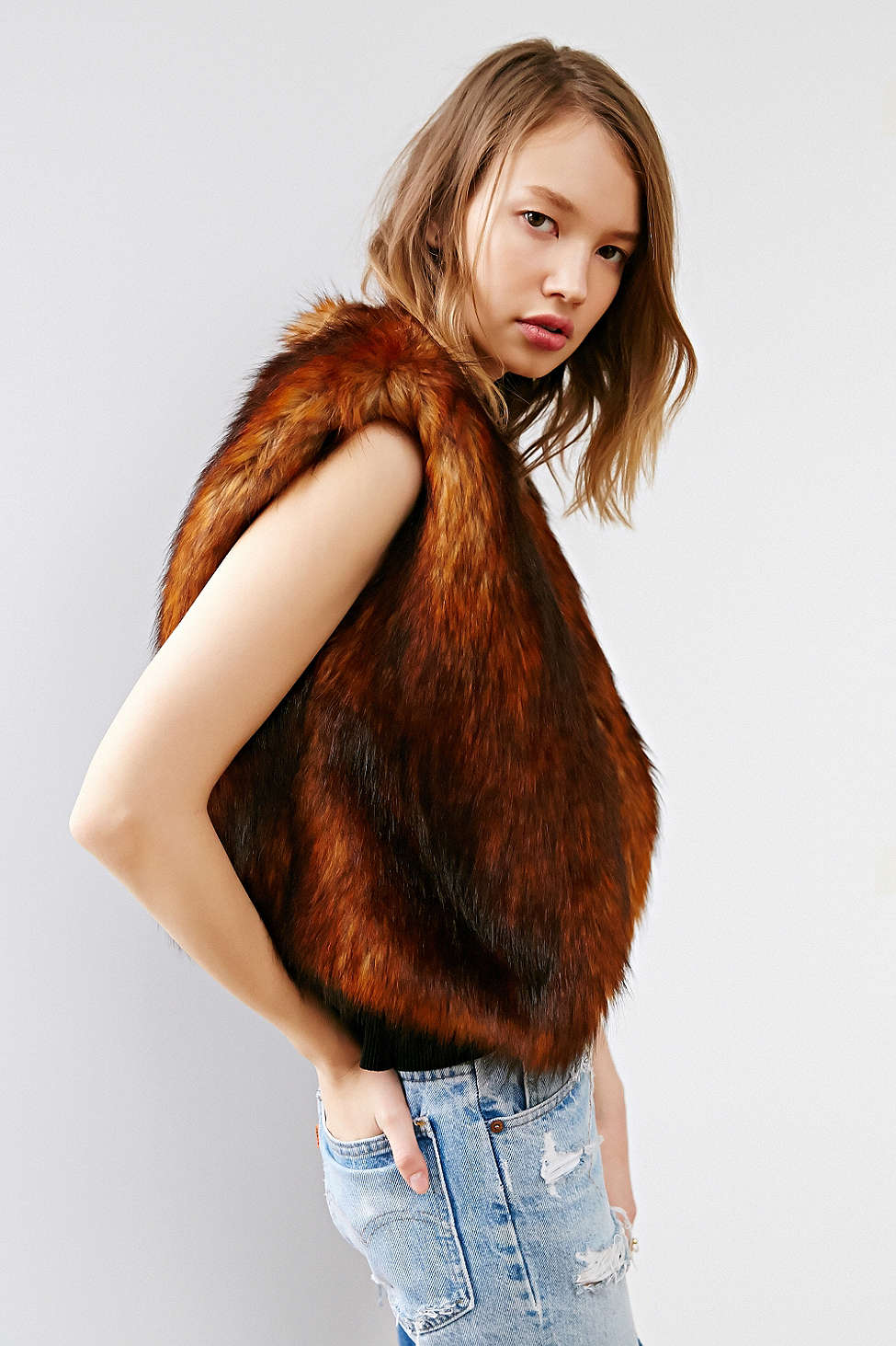 Line & Dot Cropped Faux Fur Vest // Acrylic Fibers + Polyester >> $99.99 - 30%