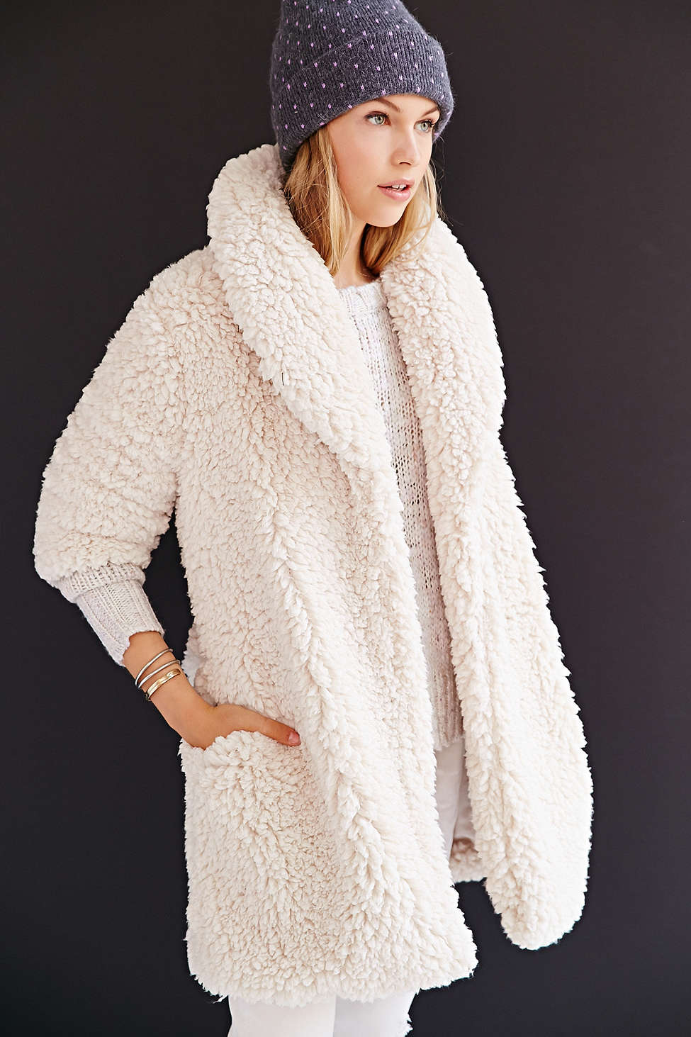 Pins + Needles Sherpa Coat // Acrylic + Polyester >> $149 - 30%