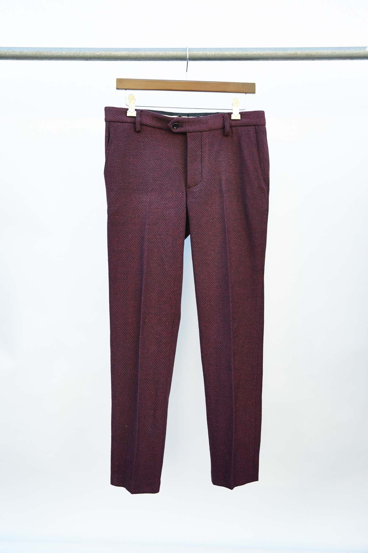 BURGUNDY TWEED SUIT PANTS $350.00