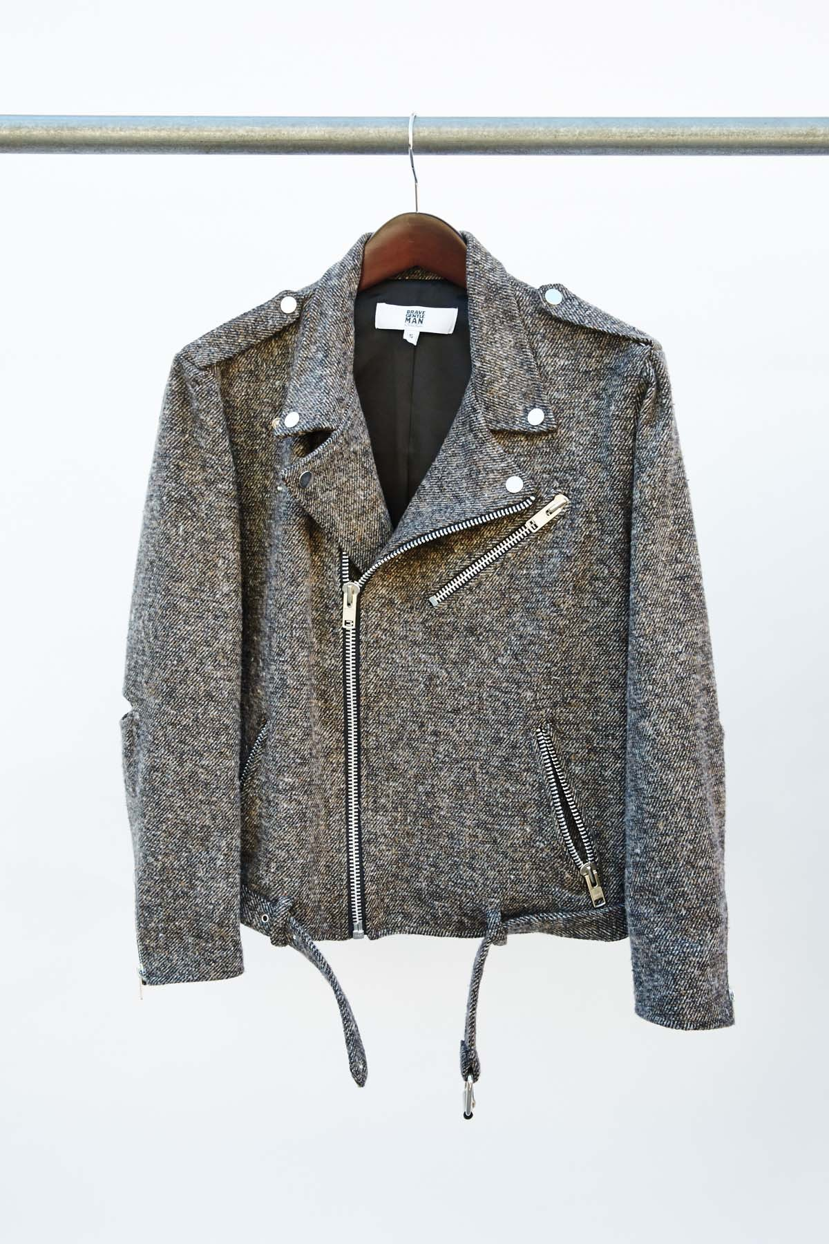 TWEED MOTO JACKET- BROWN $630.00