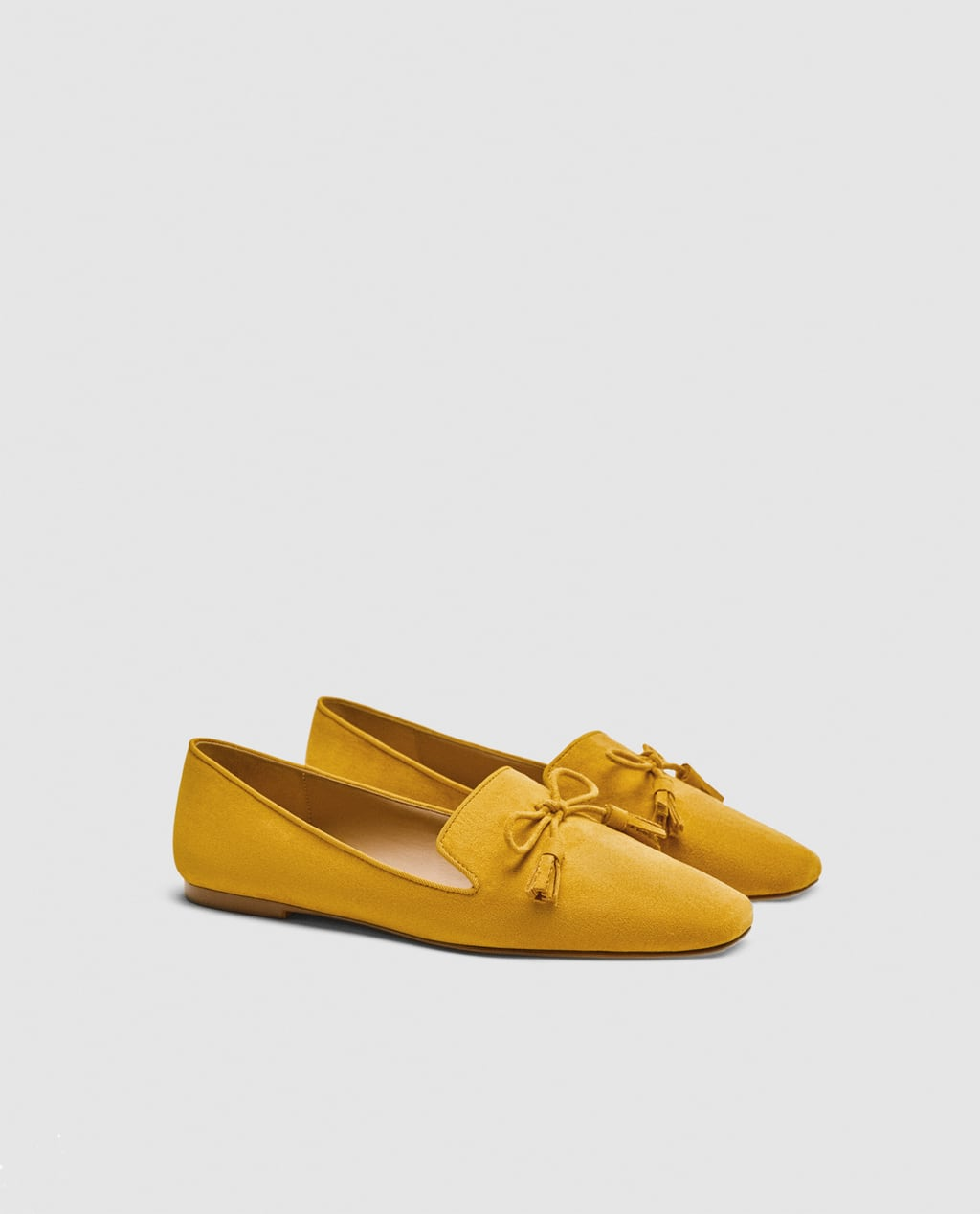 Mustard Loafers With Bow
