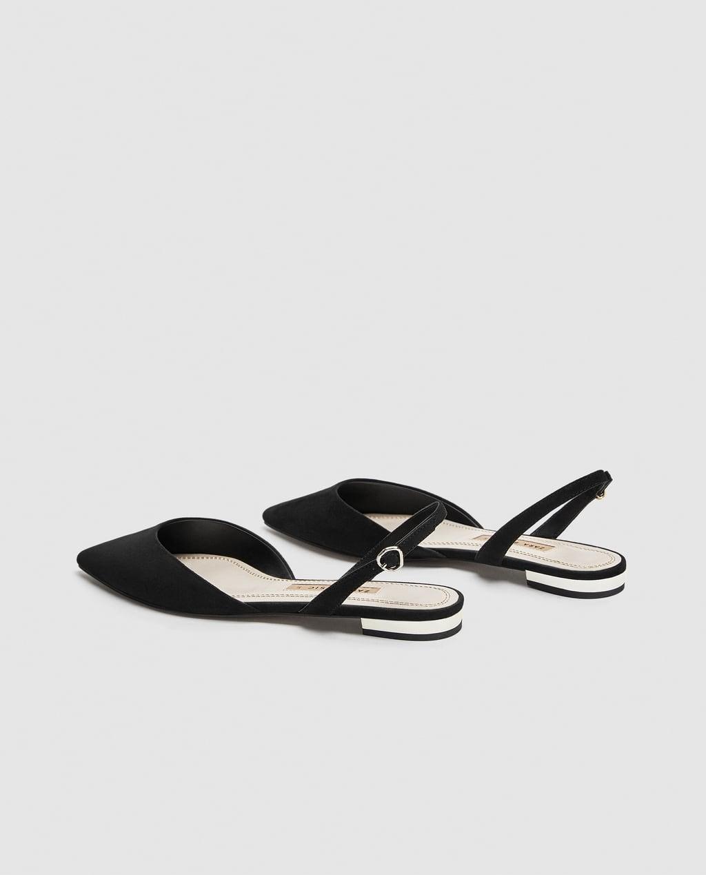 Flat Black Slingback Shoes