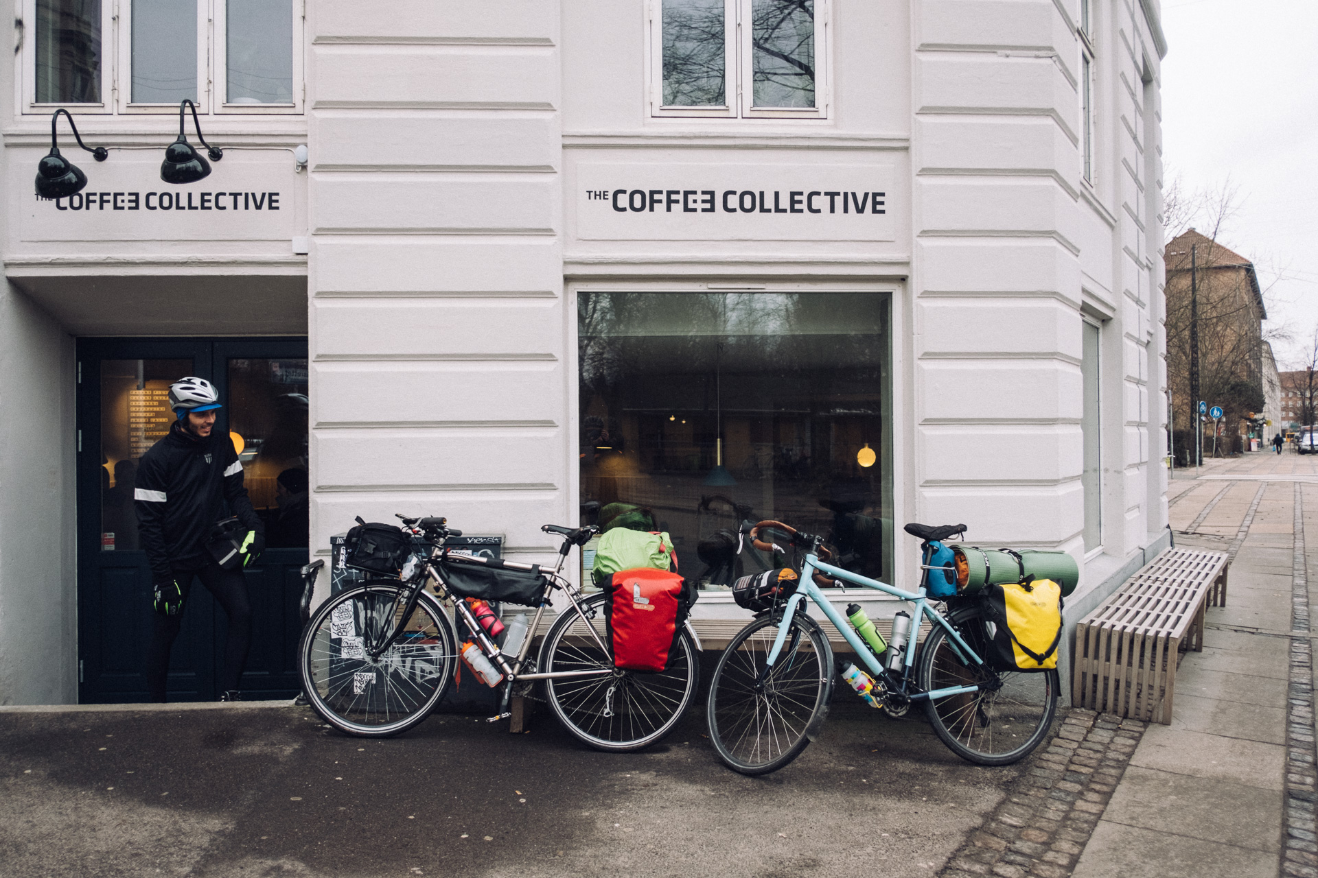 """In Copenhagen, the only thing we do is to get coffee. A shame, but we've been here many times before and """"the road is not going to be cycled on its own"""". To make it back to Oslo on time we have to bike at least 140km every single day."""