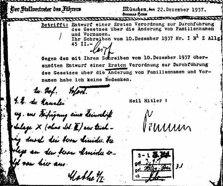 Projekt ustawy antyżydowskiej z dnia 10 grudnia 1937 roku z podpisem Hansa Globke