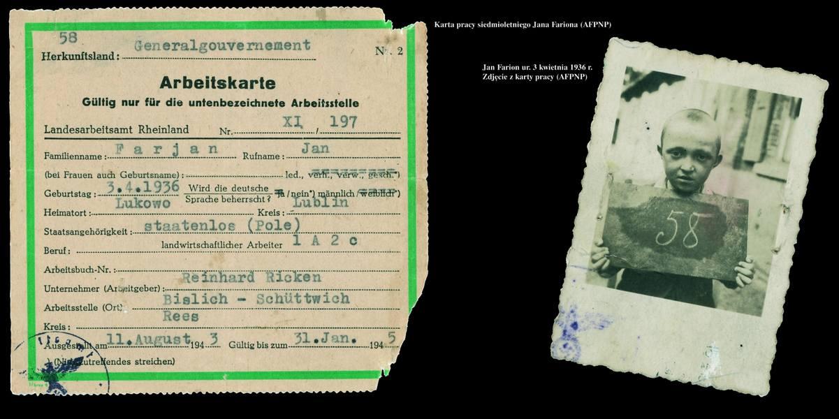 """Zdjęcie i karta pracy siedmioletniego Jana Farjana, ur. 3 kwietnia 1936 roku (fragment panelu wystawy """"Zachować pamięć"""" z 2005 roku, źródło: AFPNP)"""