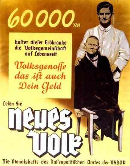 Plakat propagandowy na potrzeby programu eutanazji T-4    (źródło:  dws-xip.pl/reich/zaglada/t4.html )