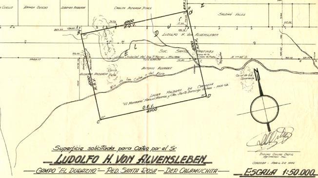 Mapka z działkami, które zakupił SS-Gruppenführer Ludolf von Alvensleben w Santa Rosa deCalamuchita (źródło:  http://interdefensa.argentinaforo.net/t3250-ludolf-von-alvensleben-el-nazi-que-buscaba-uranio )