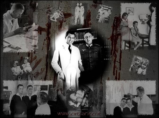 Josef Mengele i jego mentor Otmar Freiherr von Verschuer; w tle zdjęcia bliźniąt, które zostały poddane ich zbrodniczym eksperymentom (źródło:  http://www.cinziaricci.it/resistenze/image076.htm )