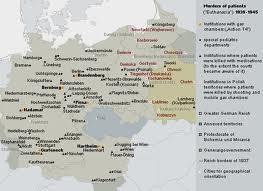 Mapa miejsc wykonywania masowej eutanazji (niepełna) (źródło: www.gedenkort-t4.eu )