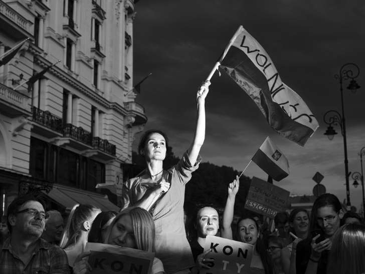 Image: The 2018 Grand Prix winner photo. The photo depicts participants of protests the reforms of the Polish judiciary. It was taken by Adam Lach. Stefano De Luigi, a world-famous photojournalist, was the chairman of the jury.