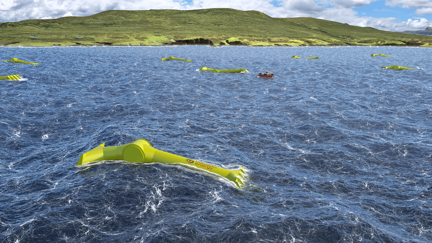 70m long Mocean Blue Horizon Wave Energy Generator farm, planned to be located off the coast of Scotland.