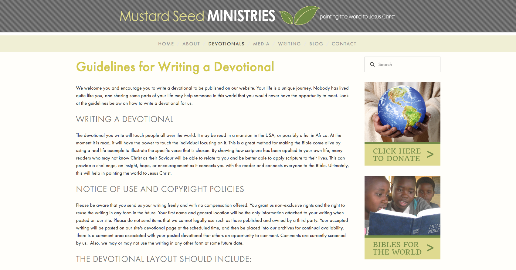 Mustard Seed Ministries Guidelines page