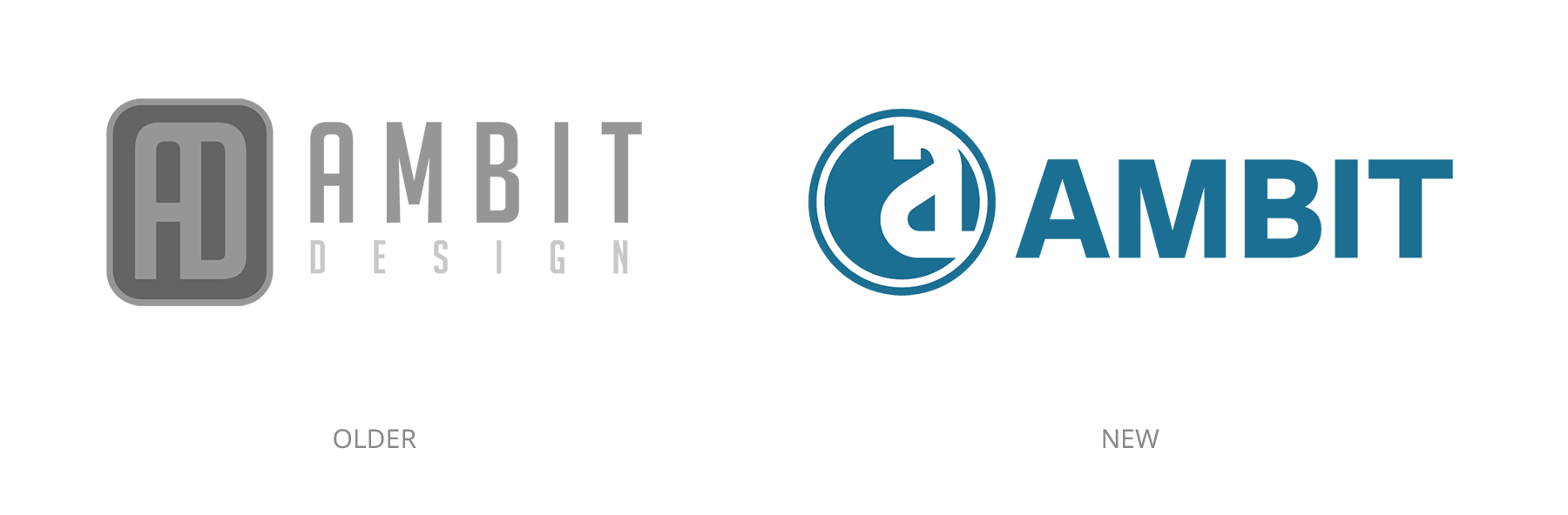 Older Ambit Design logo compared to the new Ambit logo.