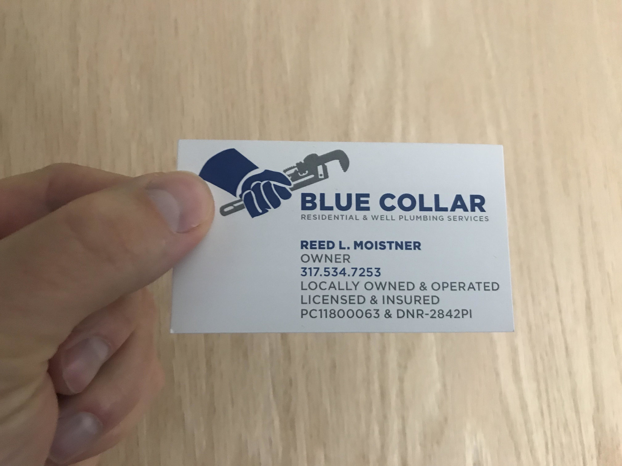 Blue Collar Plumbing Business Card Front